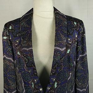 INC blue black aqua silky blazer L 0128